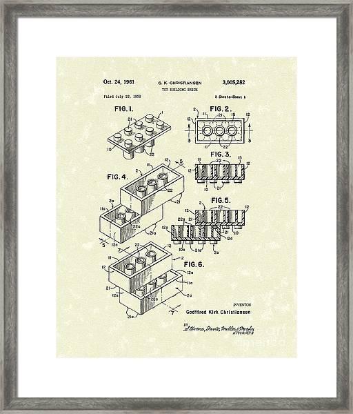 Toy Building Brick 1961 Patent Art Framed Print