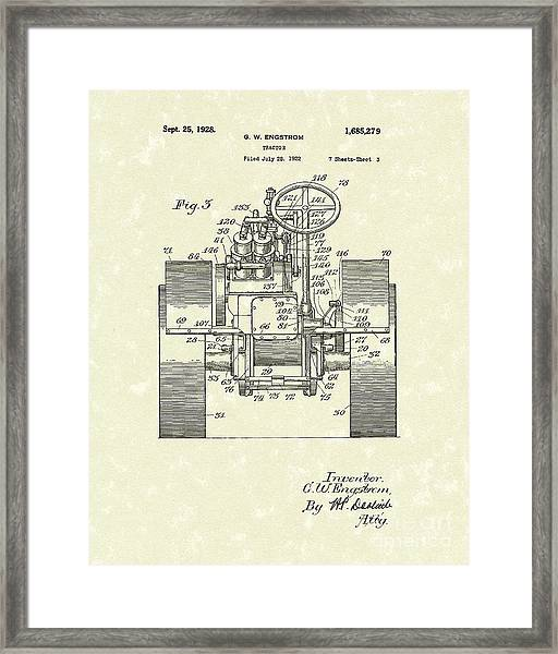 Tractor 1928 Patent Art Framed Print by Prior Art Design