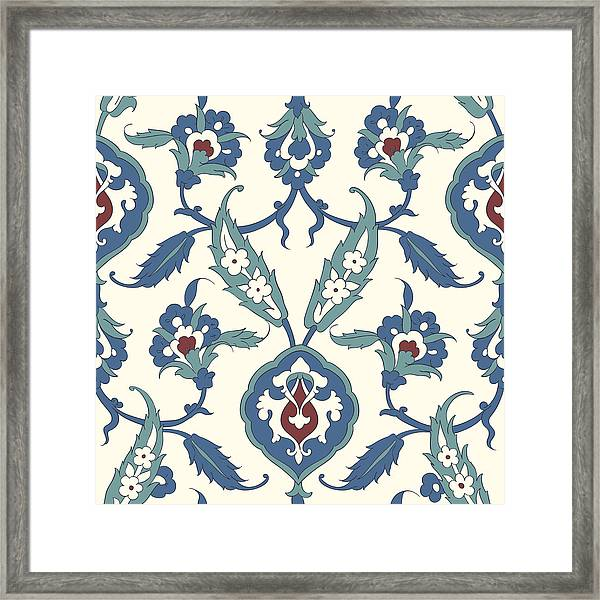Traditional Arabic Ornament Seamless For Your Design. Desktop Wallpaper. Iznik. Framed Print by