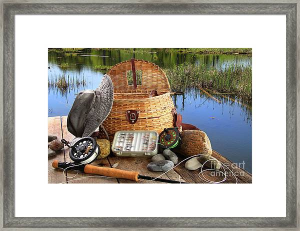 Traditional Fly-fishing Rod With Equipment  Framed Print