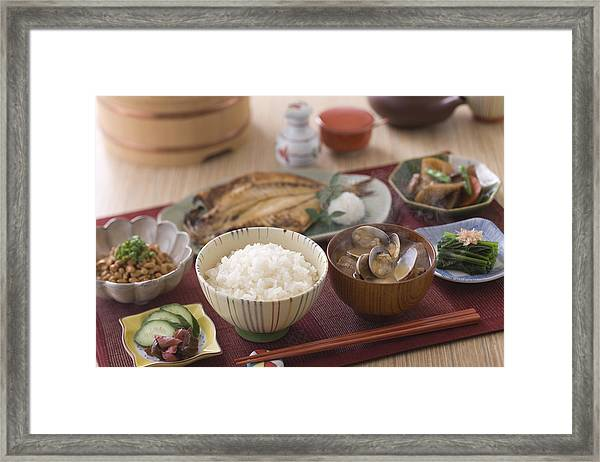 Traditional Japanese Breakfast Framed Print by Mixa