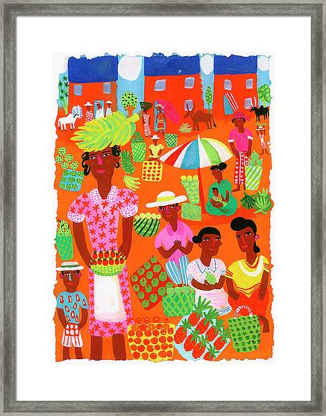 Traditional Outdoor Food Market In Framed Print