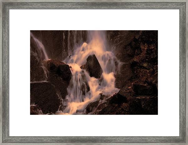 Traditional Waterfall At Sunset Framed Print