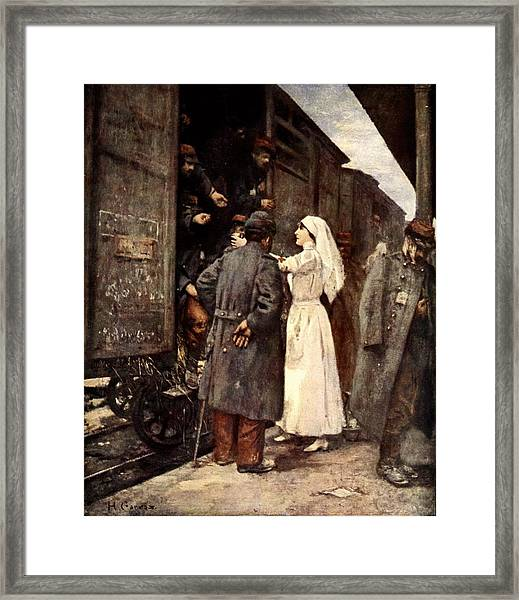 Train Of The Wounded, 1915 Framed Print