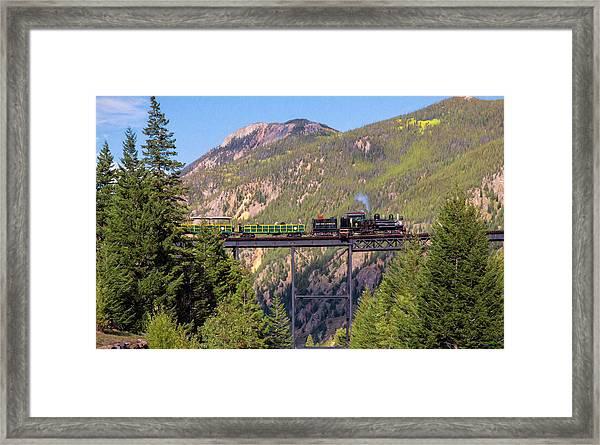 Train Over The Trestle Framed Print