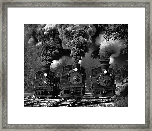 Train Race In Bw Framed Print