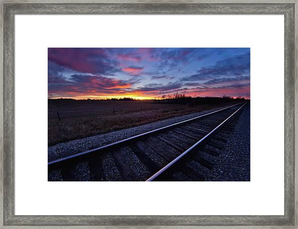 Train Tracks And A Dramatic Colourful Framed Print