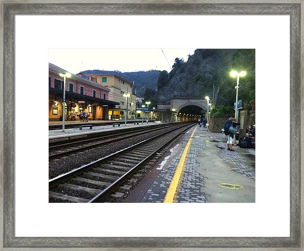 Train Tunnel In Cinque Terre Italy Framed Print