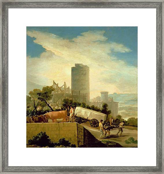Transporting A Stone Block, 1786-87 Oil On Canvas Framed Print