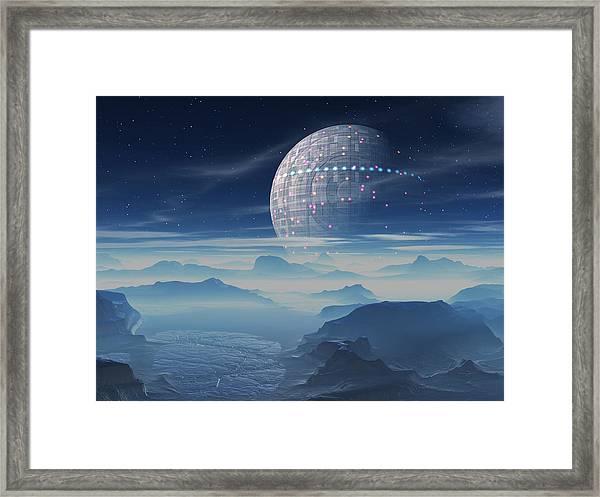 Tranus Alien Planet With Satellite Framed Print