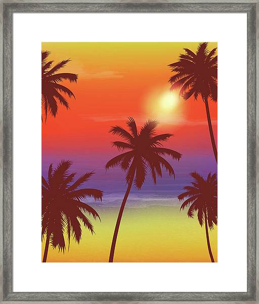 Travel Backgrounds With Palm Trees Framed Print