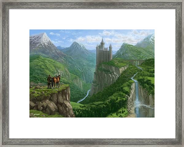 Traveller In Landscape With Distant Castle Framed Print