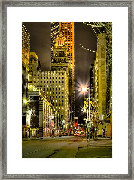 Travis And Lamar Street At Night Framed Print
