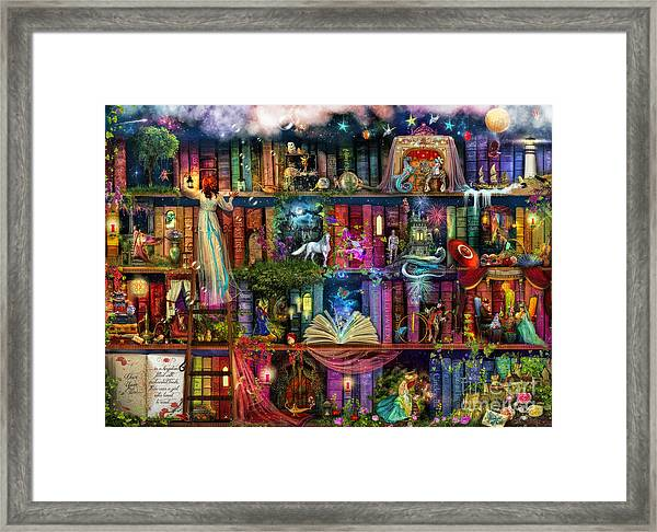 Fairytale Treasure Hunt Book Shelf Framed Print
