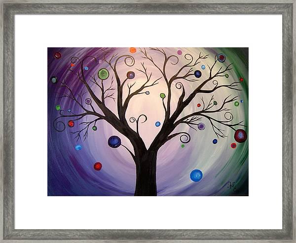 Tree Of Lights-purple Framed Print