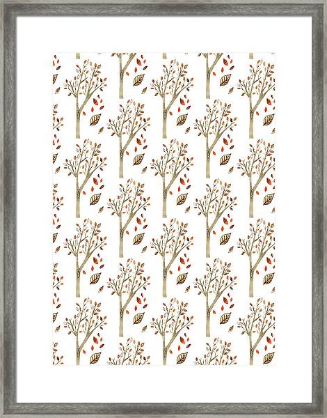 Tree Watercolour Repeat With Orange Autumn Leaves On White.jpg Framed Print