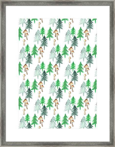 Trees And Mushrooms Forest Repeat Coordinate On White.jpg Framed Print