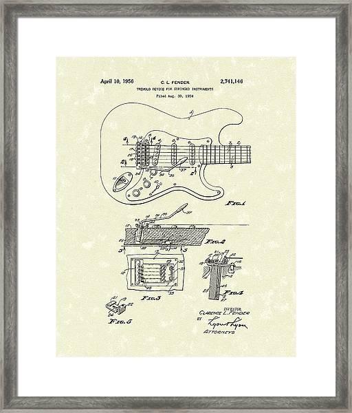 Tremolo Device 1956 Patent Art Framed Print