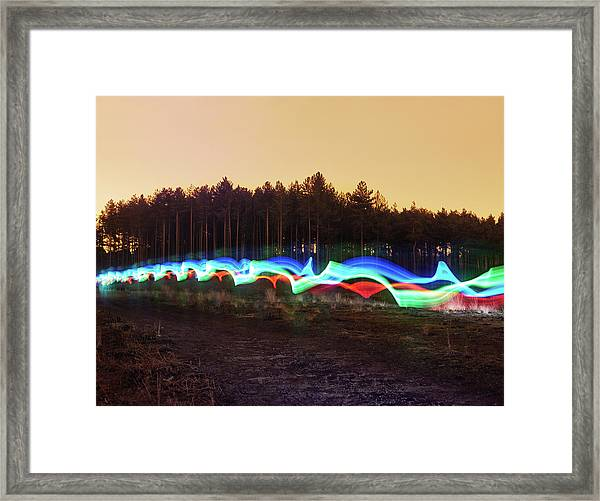 Tri-colour Light Trail In Heath Framed Print by Tim Robberts