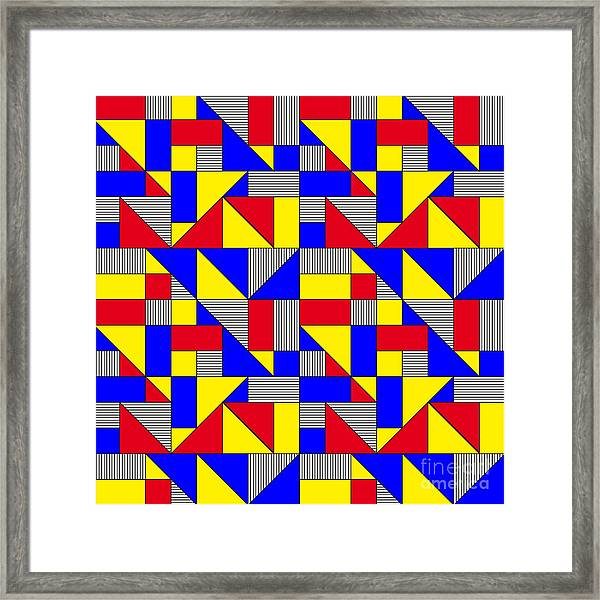 Triangles And Squares Geometrical Framed Print