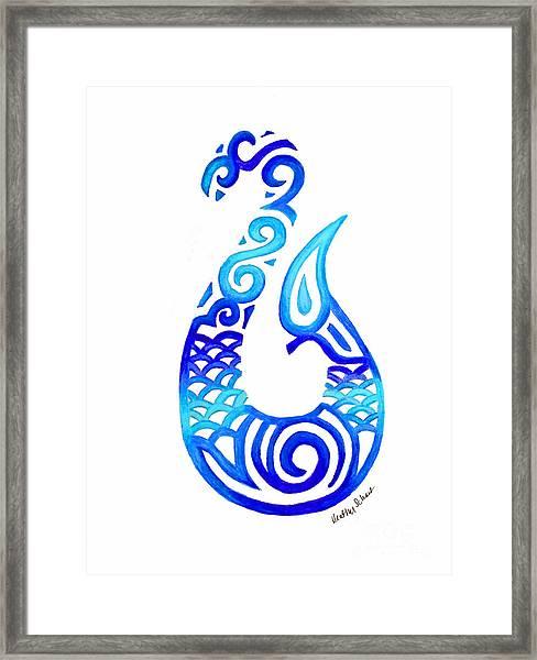 Tribal Fish Hook Framed Print