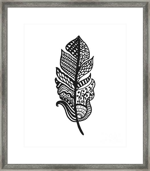 Tribal Vector Feather. Hand Drawn Framed Print by Qilli
