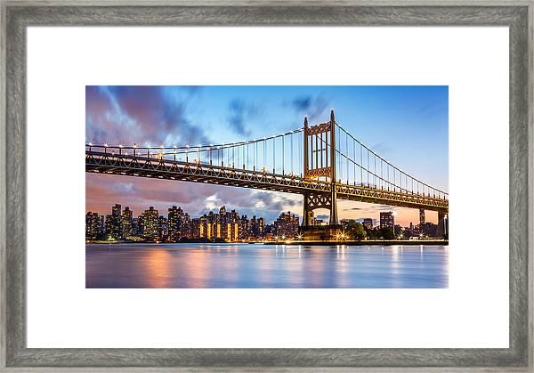 Triboro Bridge At Dusk Framed Print