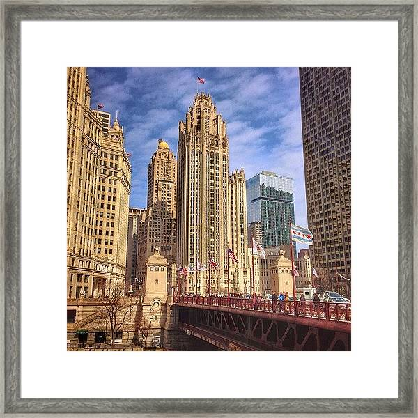 Tribune Tower And Dusable Bridge In Framed Print