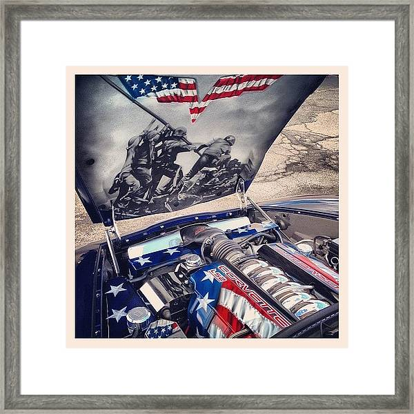 Tribute #corvette To All Veterans #usa Framed Print