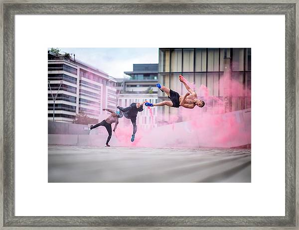 Tricking With Ahmed Chouikhi, Mehdi Ahrad & Kevin Karlton Framed Print by Tristan Shu