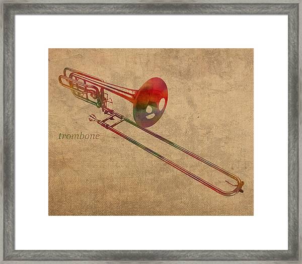 Trombone Brass Instrument Watercolor Portrait On Worn Canvas Framed Print