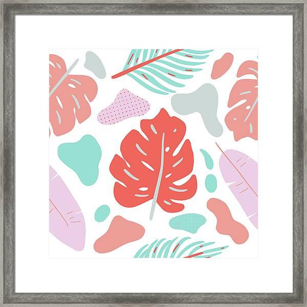 Tropical Background. Modern Floral Framed Print