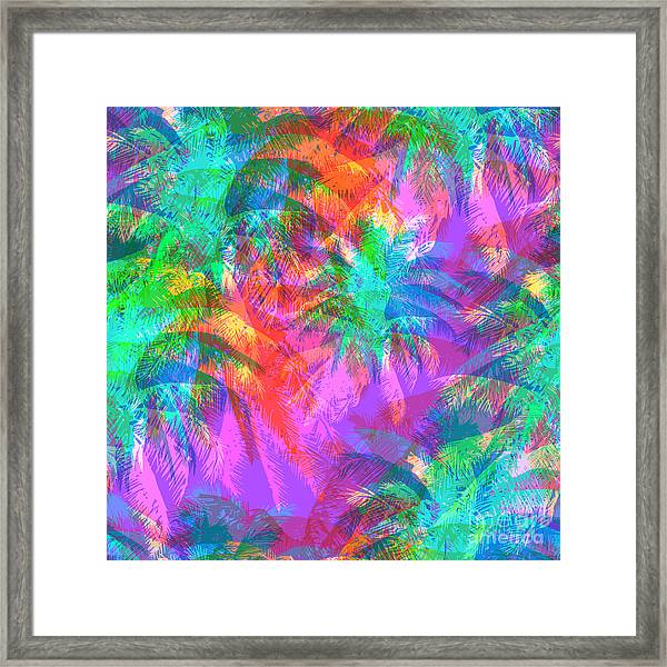 Tropical Pattern Depicting Pink And Framed Print