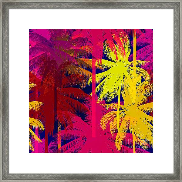 Tropical Seamless Pattern Depicting Framed Print