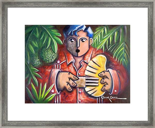 Framed Print featuring the painting Trovador De La Pana by Oscar Ortiz