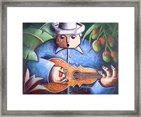 Framed Print featuring the painting Trovador De Mango Bajito by Oscar Ortiz