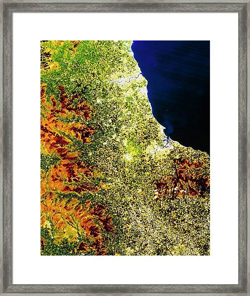 True-colour Satellite Image Of North-east England Framed Print