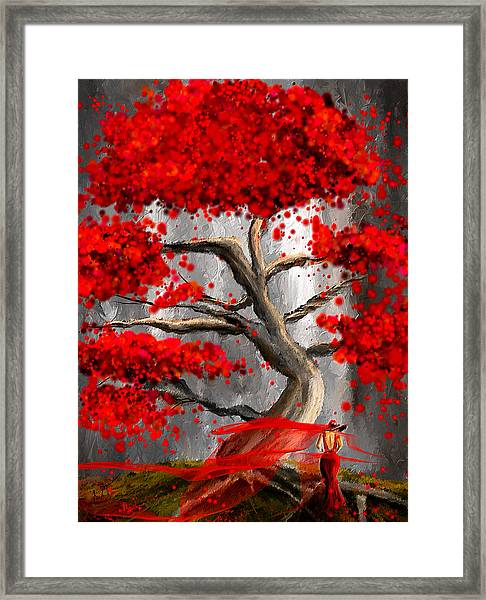 True Love Waits - Red And Gray Art Framed Print