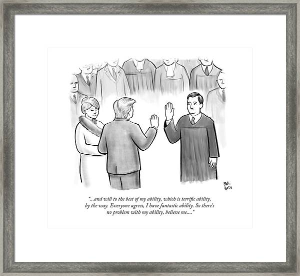 Trump Being Sworn Into Office Framed Print