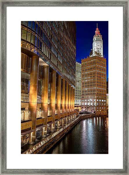 Trump Wrigley Chicago River Blue Hour Framed Print by Michael  Bennett