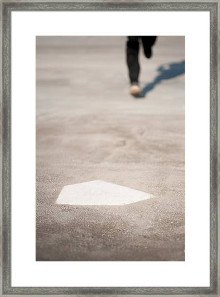 Trying To Step The Home Base Framed Print by Toshiro Shimada