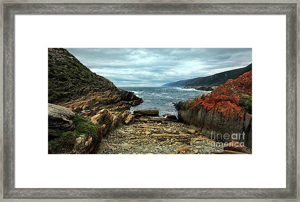Framed Print featuring the photograph Tsitsikamma Rocky Ocean by Glenda Wright