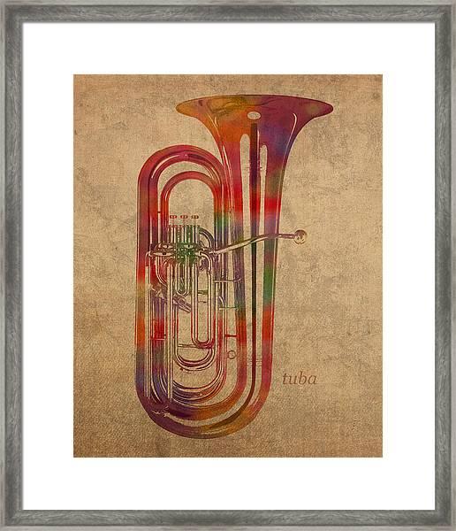 Tuba Brass Instrument Watercolor Portrait On Worn Canvas Framed Print