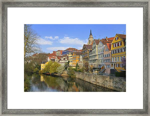Tuebingen Neckarfront With Beautiful Old Houses Framed Print