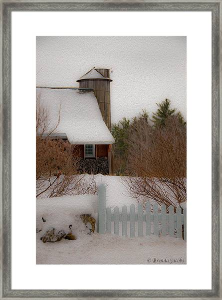 Tuftonboro Farm In Snow Framed Print