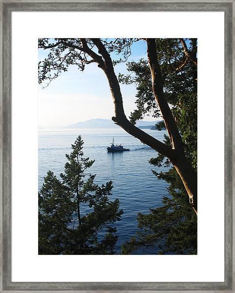 Tugboat Passes Framed Print
