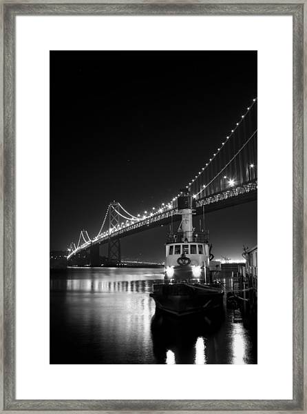 Tugboat Under The Bay Bridge Framed Print