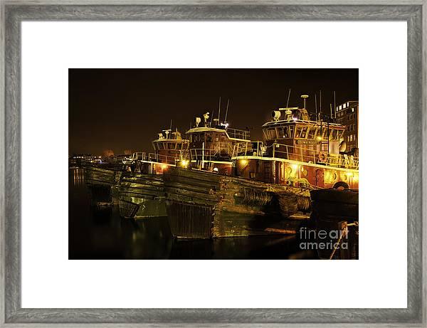 Tugboats 1st Night Dec 2013 Framed Print