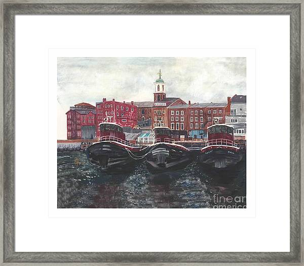 Tugboats Of Portsmouth Framed Print