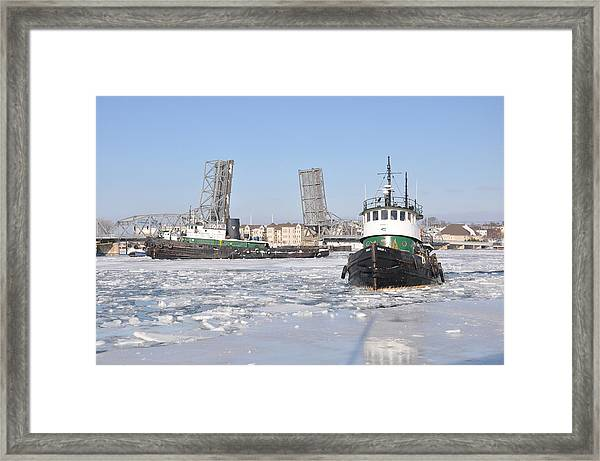 Tugs In The Harbor Framed Print
